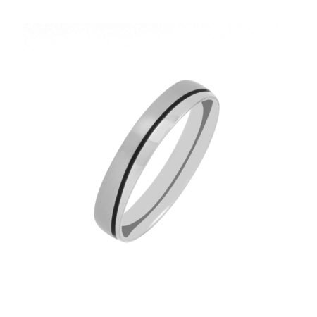 Titanium wedding ring with wave groove