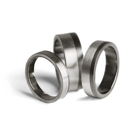 titanium wedding bands silver inlay