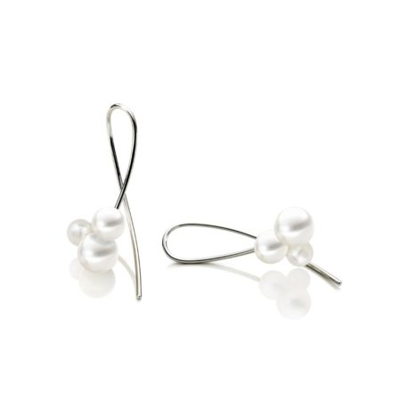 Silver Triple pearl cluster drop earrings