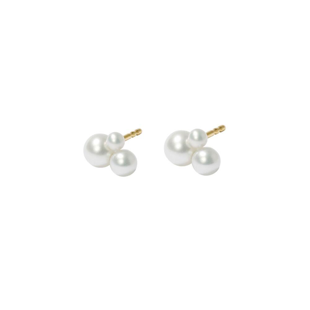 Triple pearl stud earrings