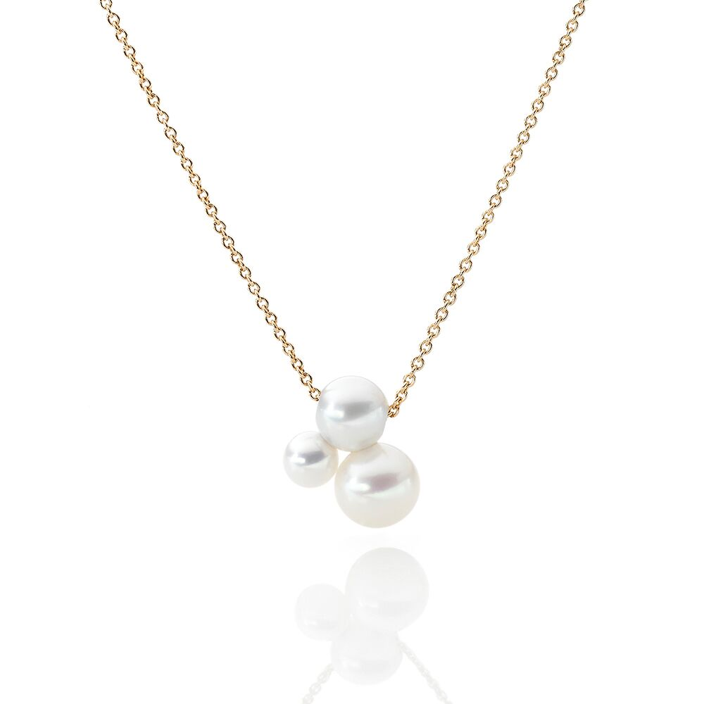 Triplet pearl and gold chain 2