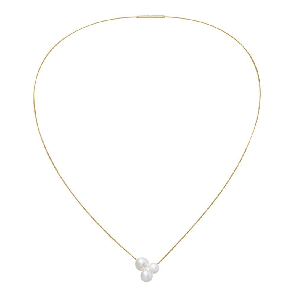 Triplet pearl and gold neckwire