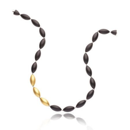 Tulip neckpiece - gold and black