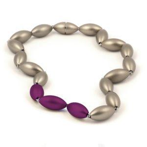 Tulip neckpiece - grey and purple