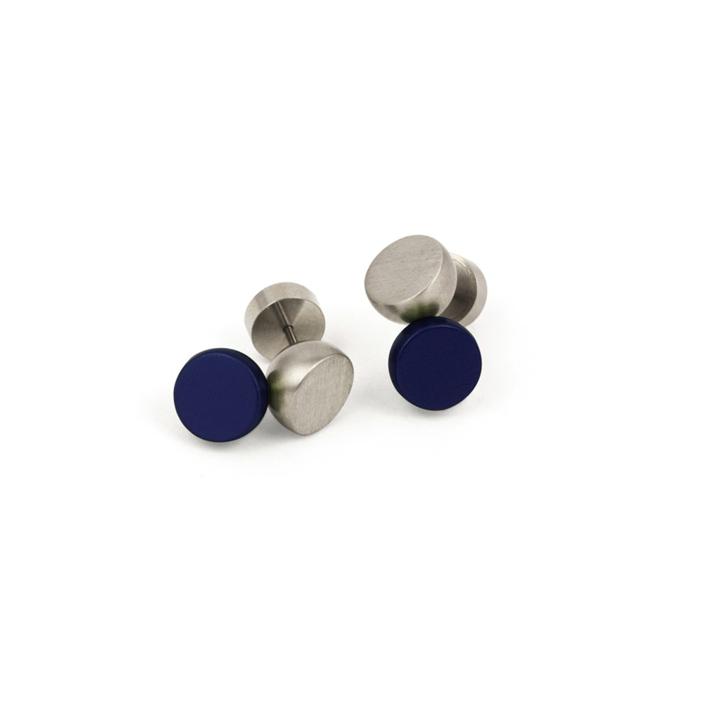 Twin stud earrings - blue
