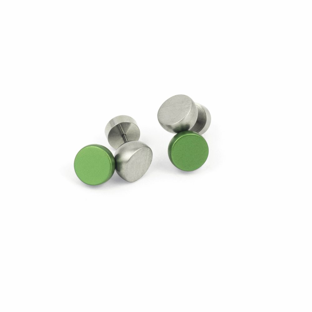 Twin stud earrings - green