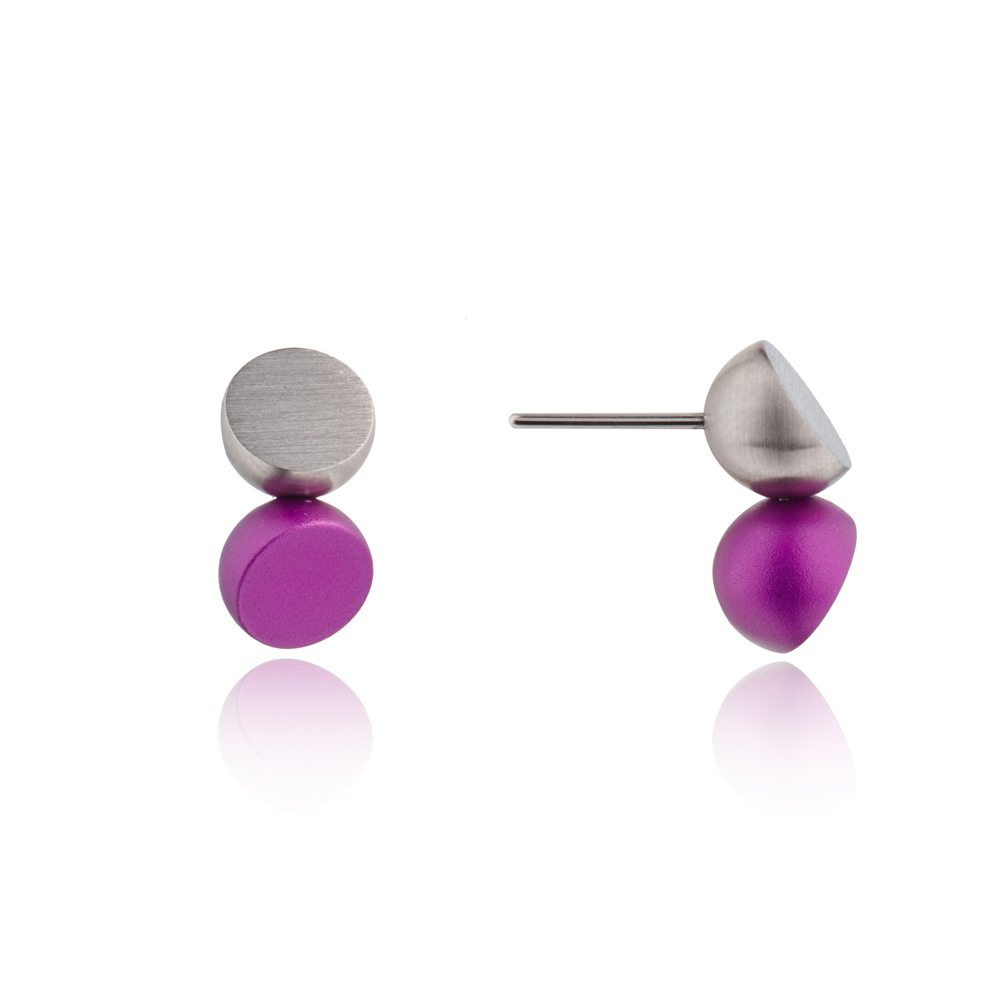 Twin stud earrings - purple 2