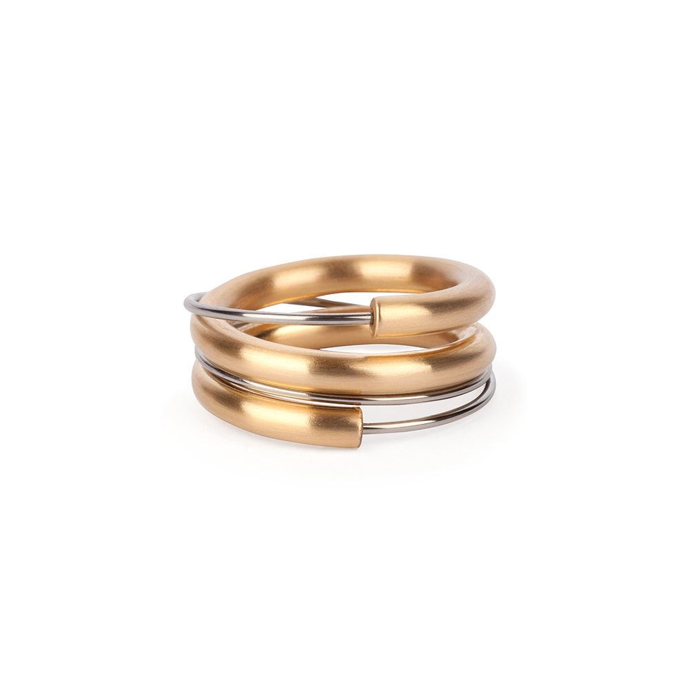Two-tone wrap around ring
