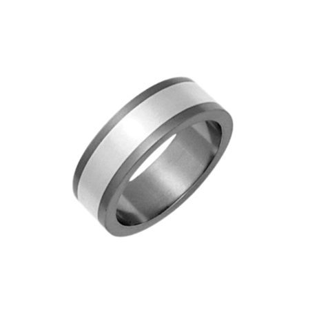 Wide titanium ring with silver inlay