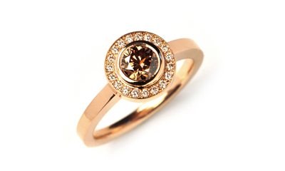 chocolate diamond rose gold engagement ring