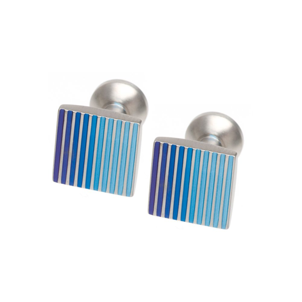 Blue grooves titanium cufflinks
