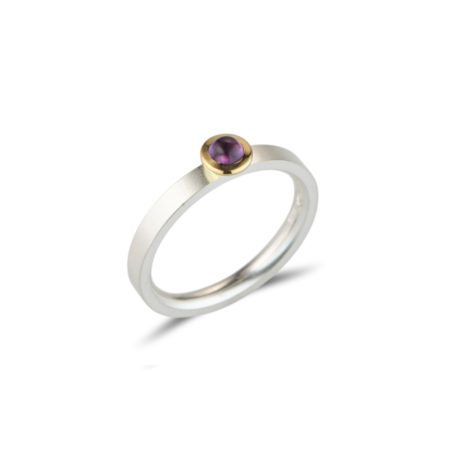 silver Kaleidoscope stacking ring - amethyst