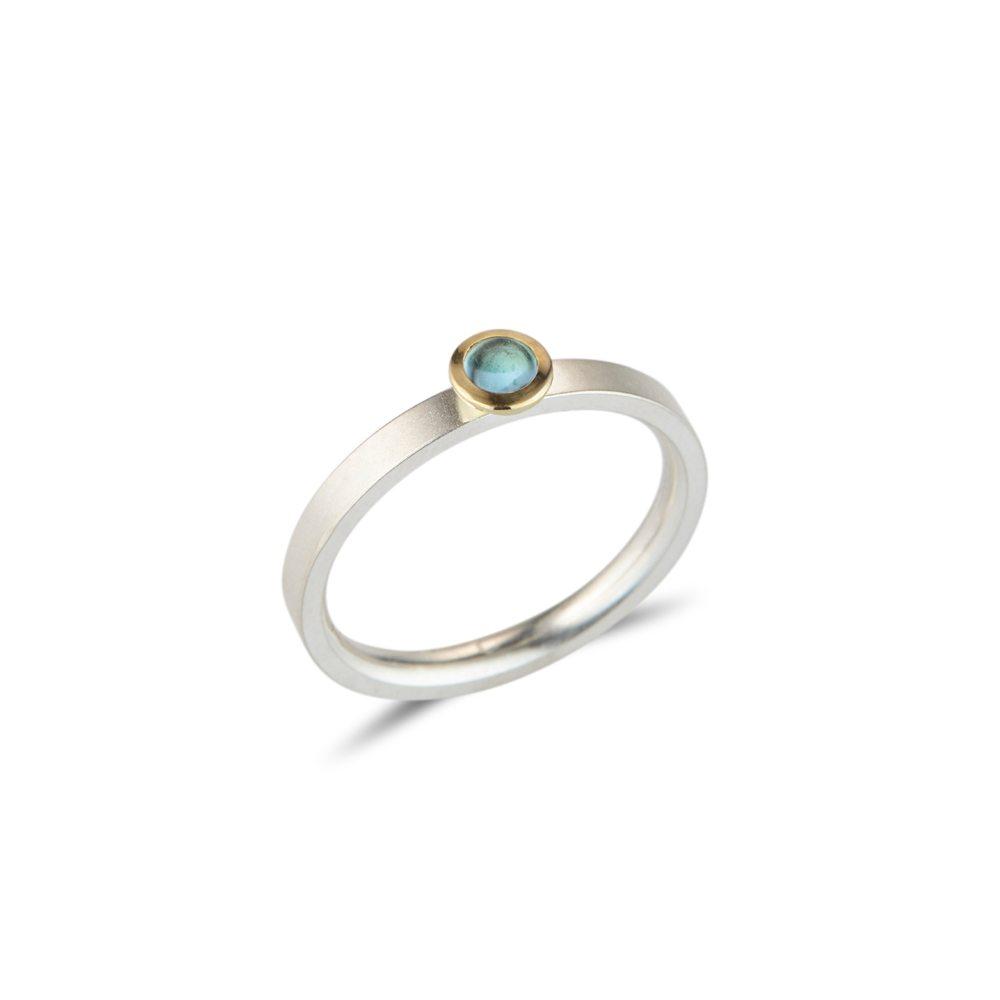 blue topaz Kaleidoscope silver stacking ring