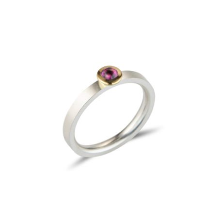 silver Kaleidoscope stacking ring - rhodolite garnet