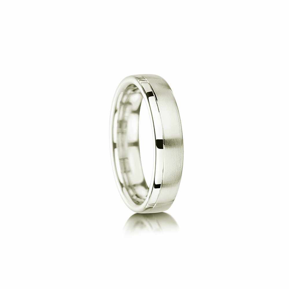 Matte wedding ring with offset polished section