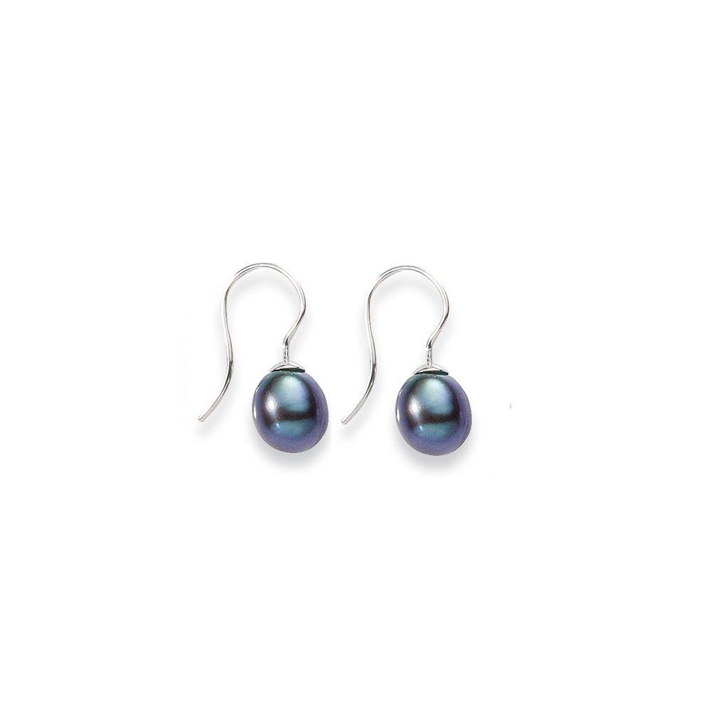 small silver Peacock blue pearl drop earrings
