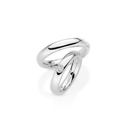 Platinum men and women's wedding rings diamond inset