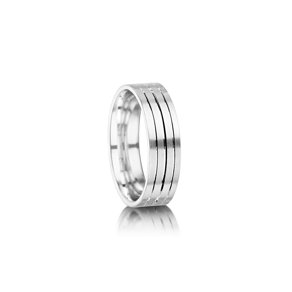 Triple groove palladium men's wedding ring