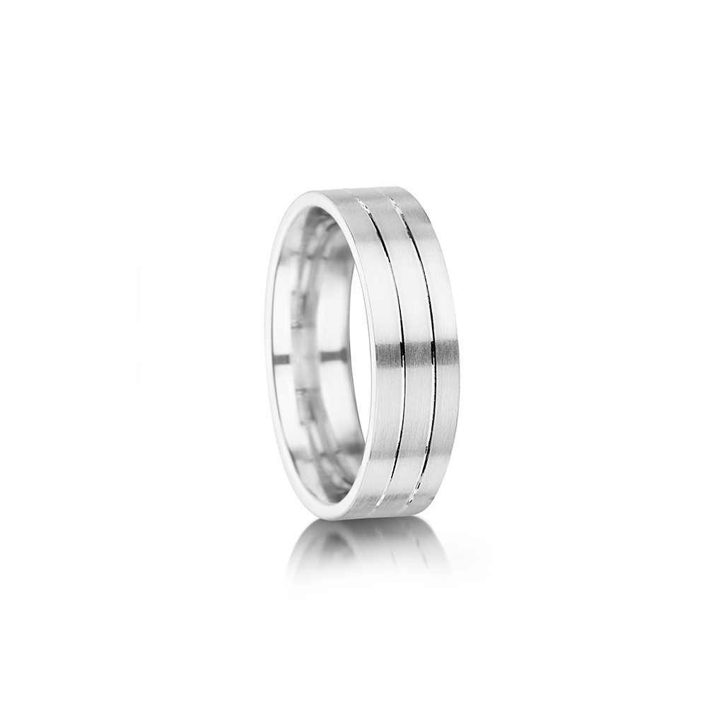 palladium men's Wedding ring with wide grooves