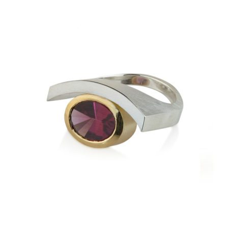 silver and gold Rhodolite garnet quintet ring