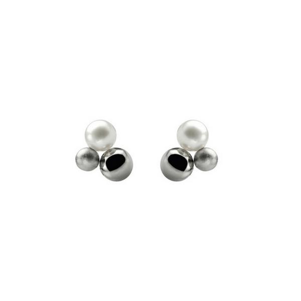 Steel and Pearl Stud Earrings