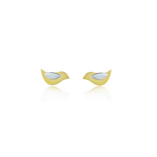 Birdie silver and gold bird stud earrings