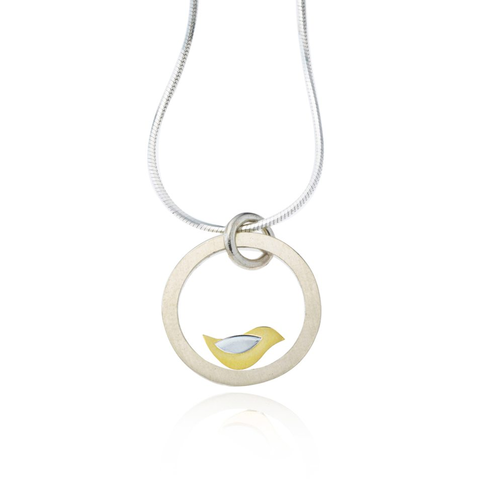 Birdie large silver and gold bird pendant necklace