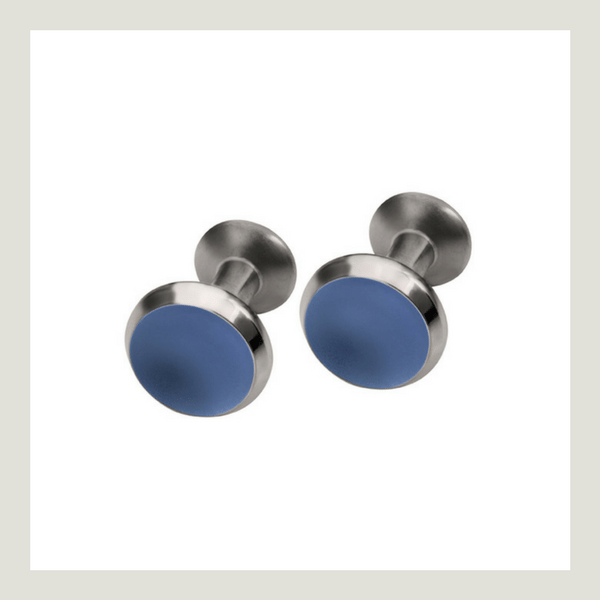 Titanium Cufflinks with blue front