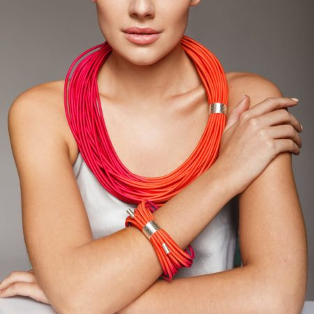 Bangle and necklace on model