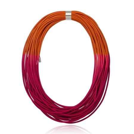 Cerise and Orange Coil Nrcklace
