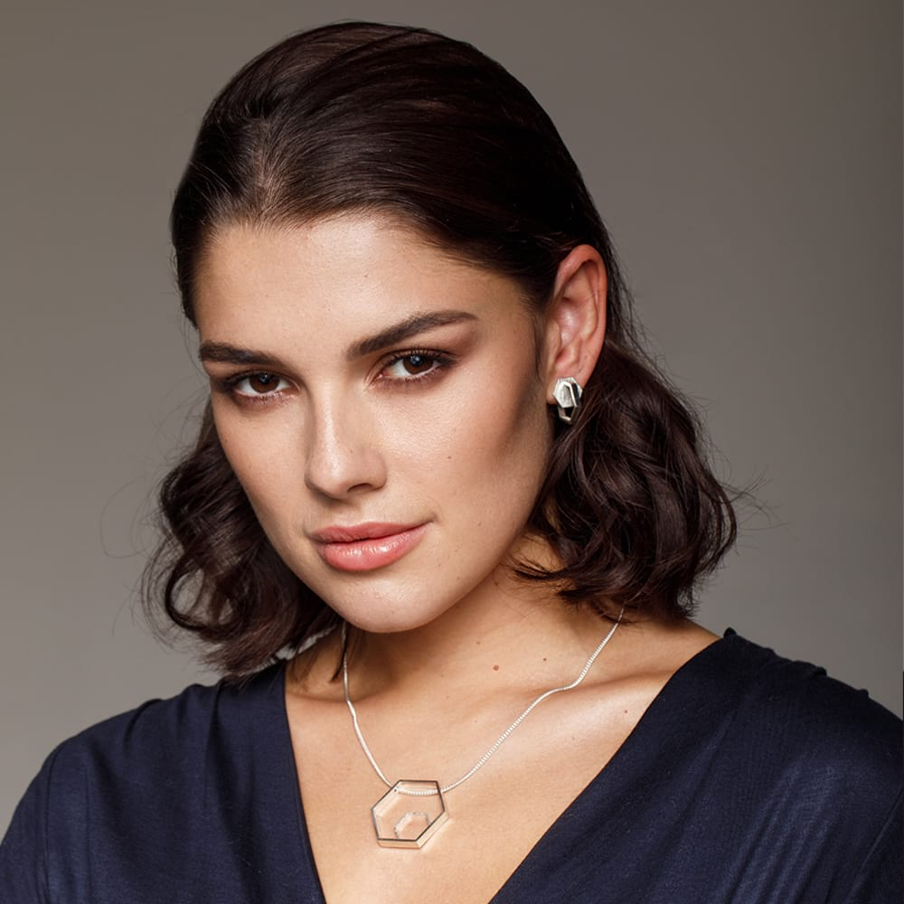 Silver Hexagon Jewellery on Model