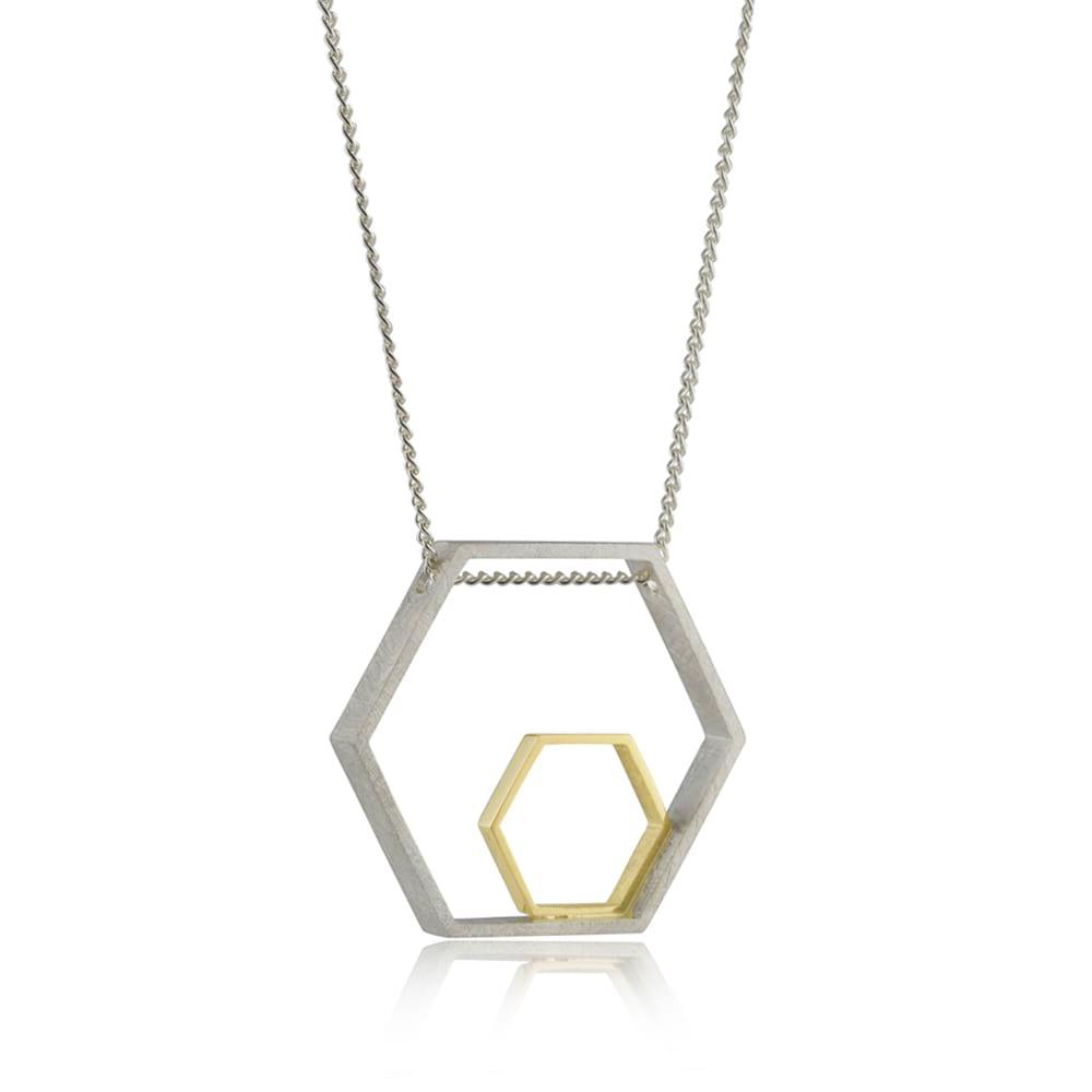Large Two-tone Hexagon Pendant