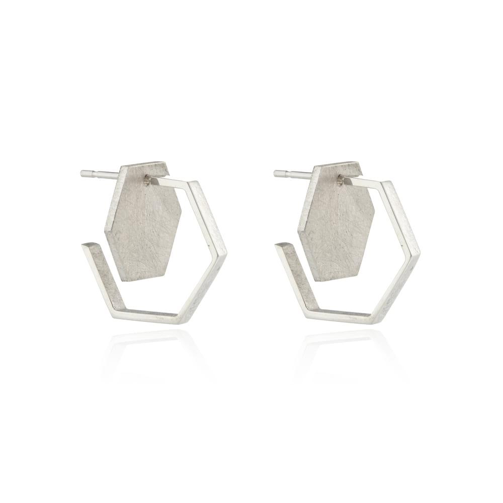 Silver Double Hexagon Studs