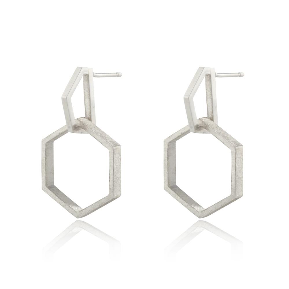 Silver Hexagon Drop Earrings