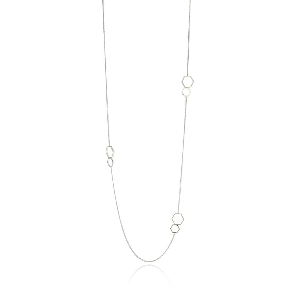 Silver Long Hexagon Neckpiece
