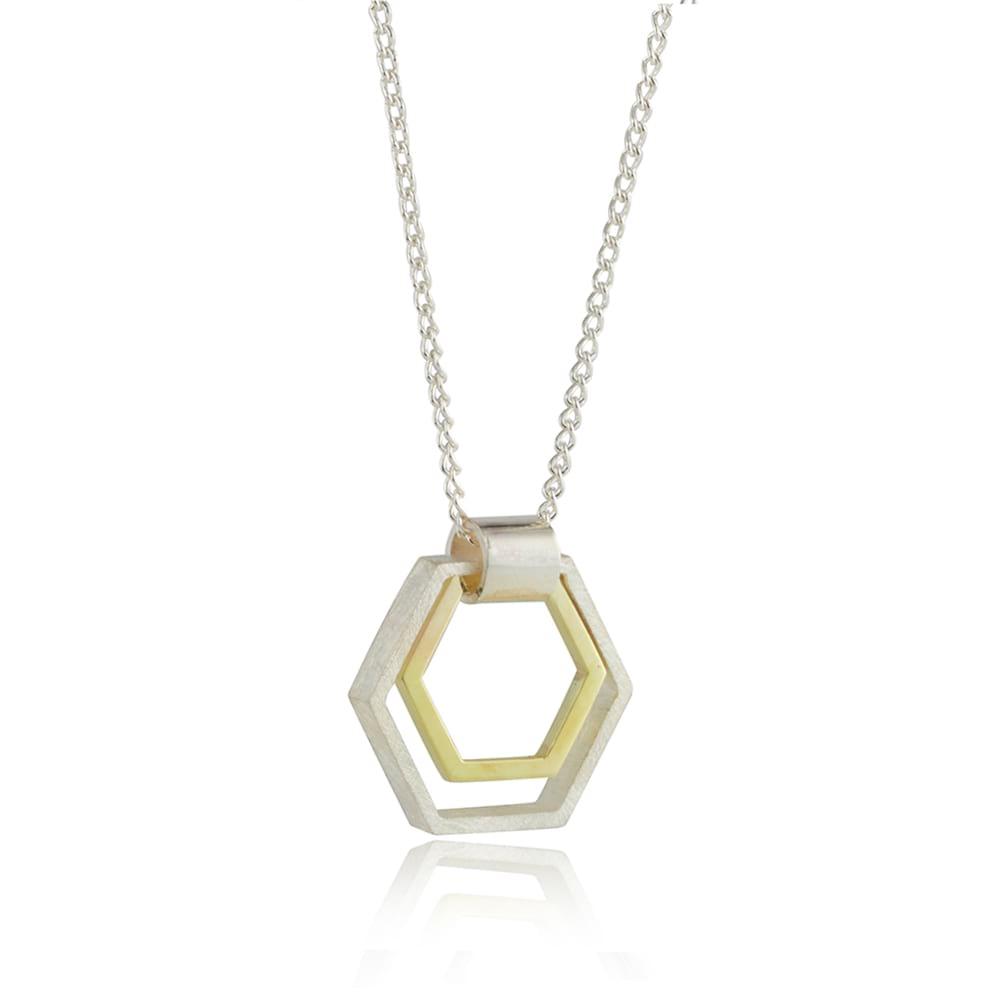 Small Two-tone Hexagon Pendant