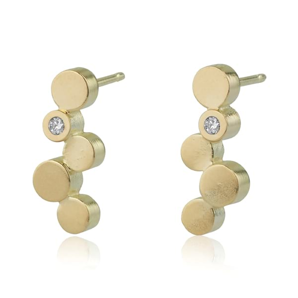 Stepping Stone Gold Stud Earrings