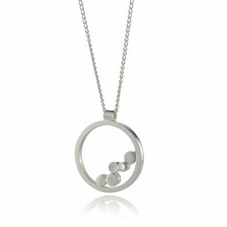 Stepping Stones silver and diamond ring pendant