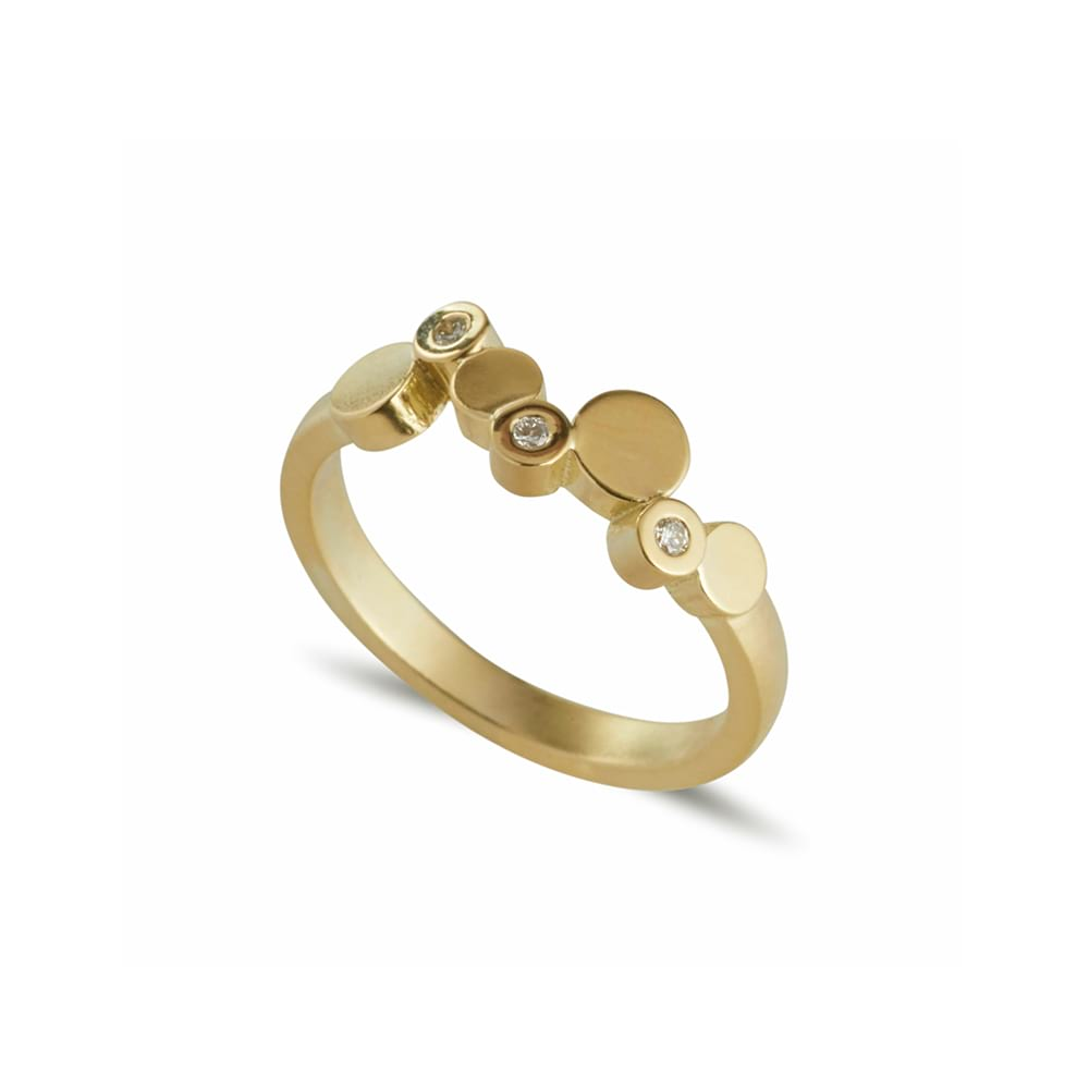 Stepping Stones yellow gold ring