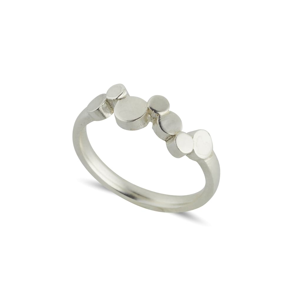 Stepping stones silver ring
