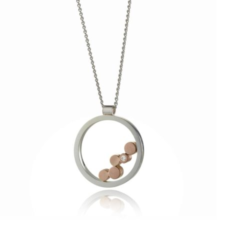 Stepping stones silver and rose gold diamond pendant