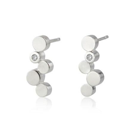 Stepping stones silver stud earrings