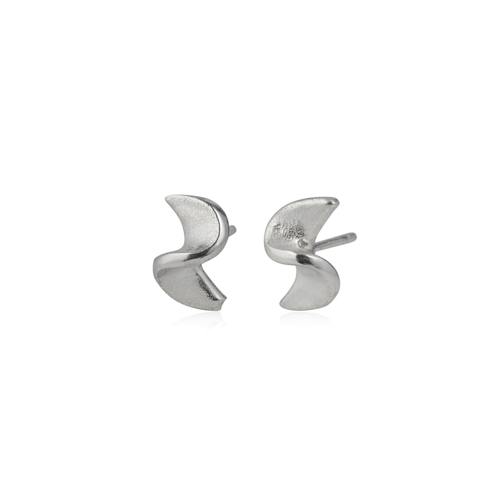 Silver Squiggle small stud earrings