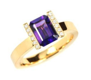 gold Amethyst ring with diamonds