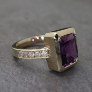 Amethyst Ring with Diamond Band