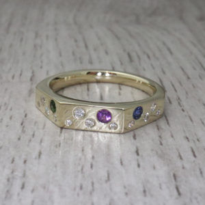 Angled Scattered Stone Ring
