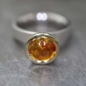 Citrine Cabochon Cocktail Ring - November Birthstone