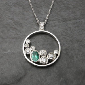 Emerald and Diamond Multistone Pendant