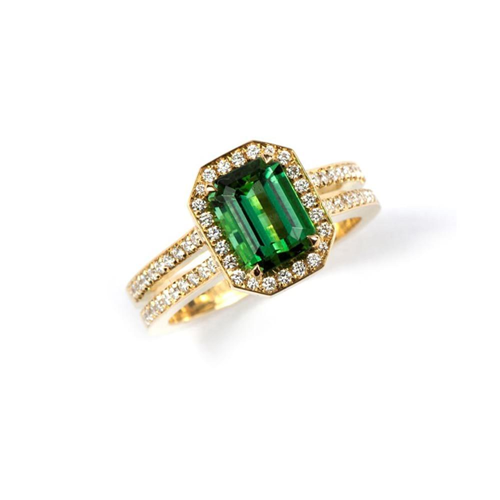 Green Tourmaline Cosmopolitan Ring with Diamond Halo and Band