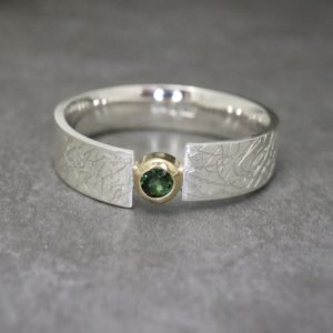Green Tourmaline Narrow Eclipse Ring - October Birthstone